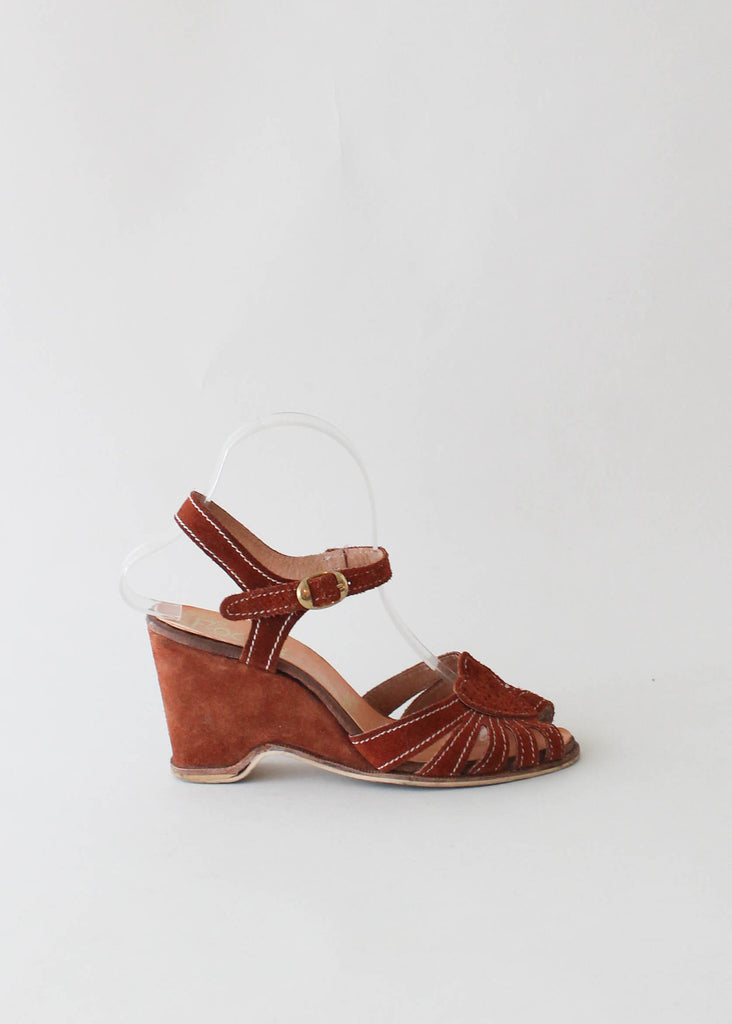 Vintage 1970s Suede Heart Wedge Sandals