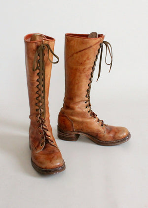 Vintage 1960s Tan Leather Lace Up Work Boots