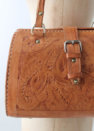 Vintage 1980s Tooled Leather Doctors Bag Purse