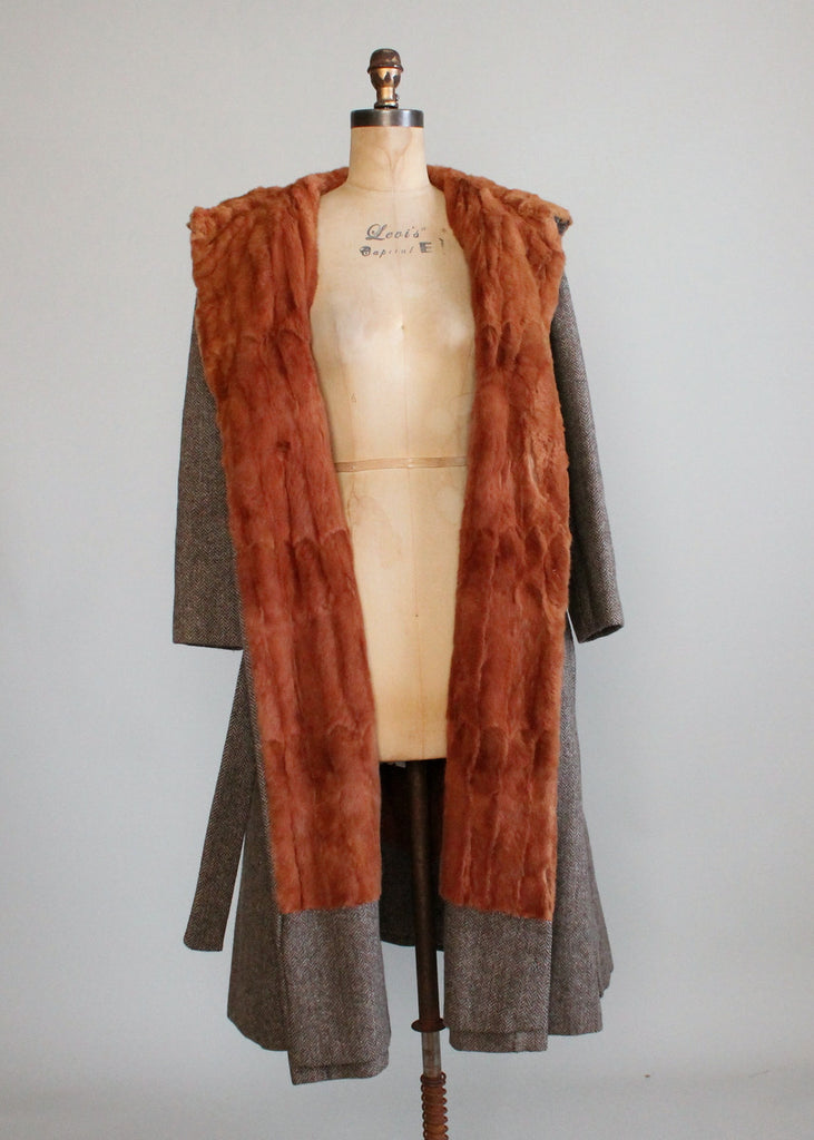 Vintage 1970s Tweed Hooded Trench Coat with Fur Lining
