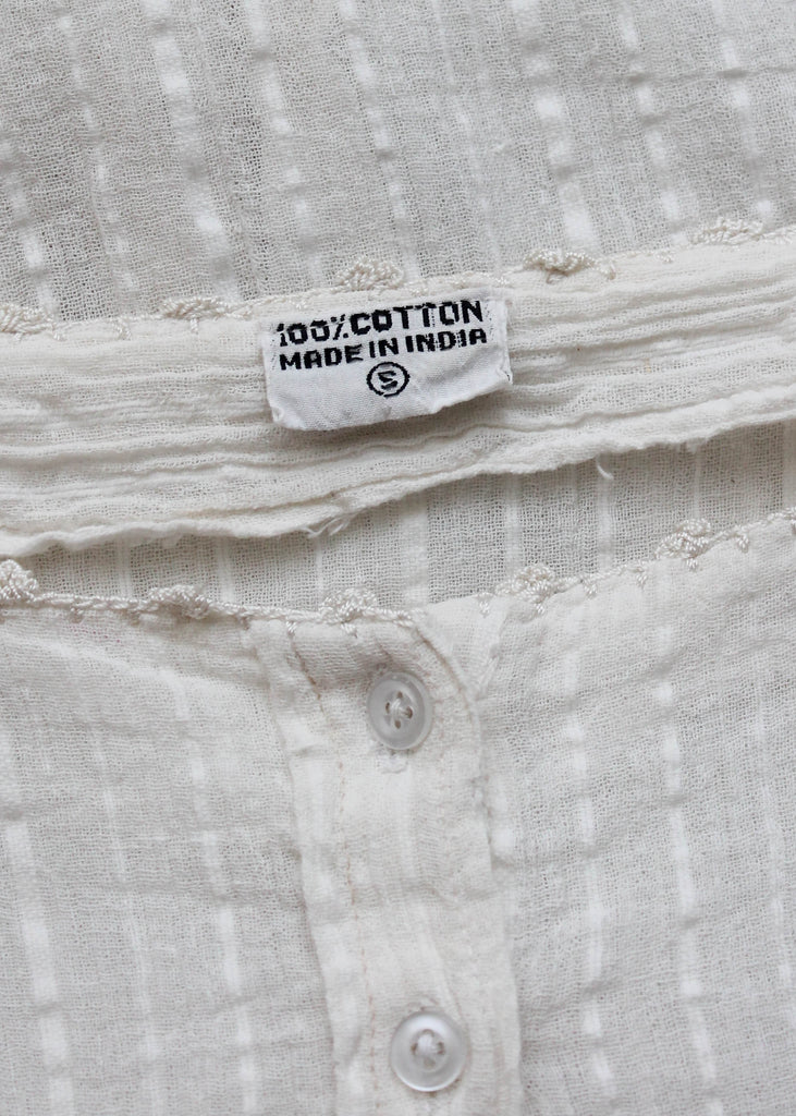 Vintage 1970s White Indian Cotton Shirt