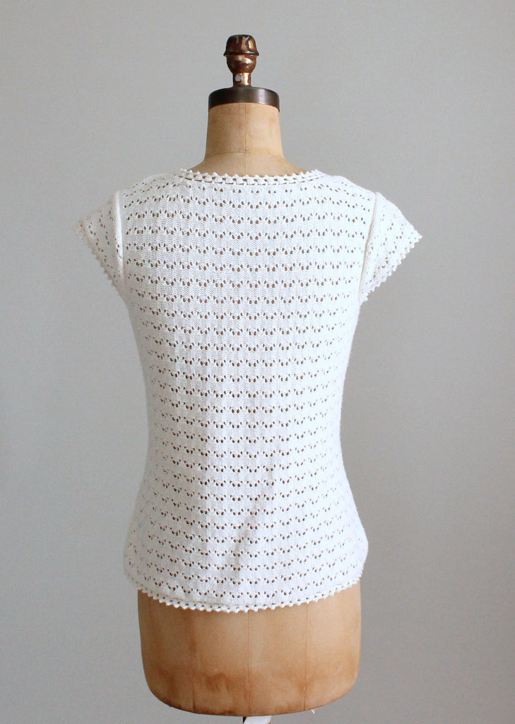 Vintage 1970s Low V Knit Summer Top