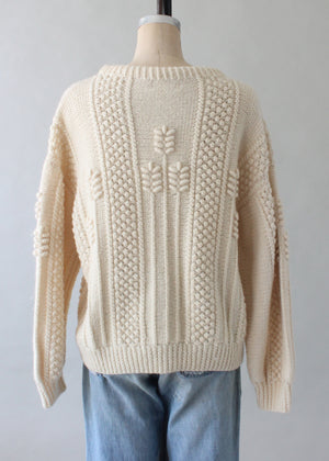 Vintage 1970s Unisex Cable Knit Wool Fisherman Sweater