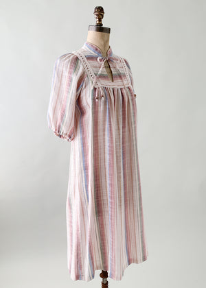 Vintage 1970s French Gauzy Striped Dress