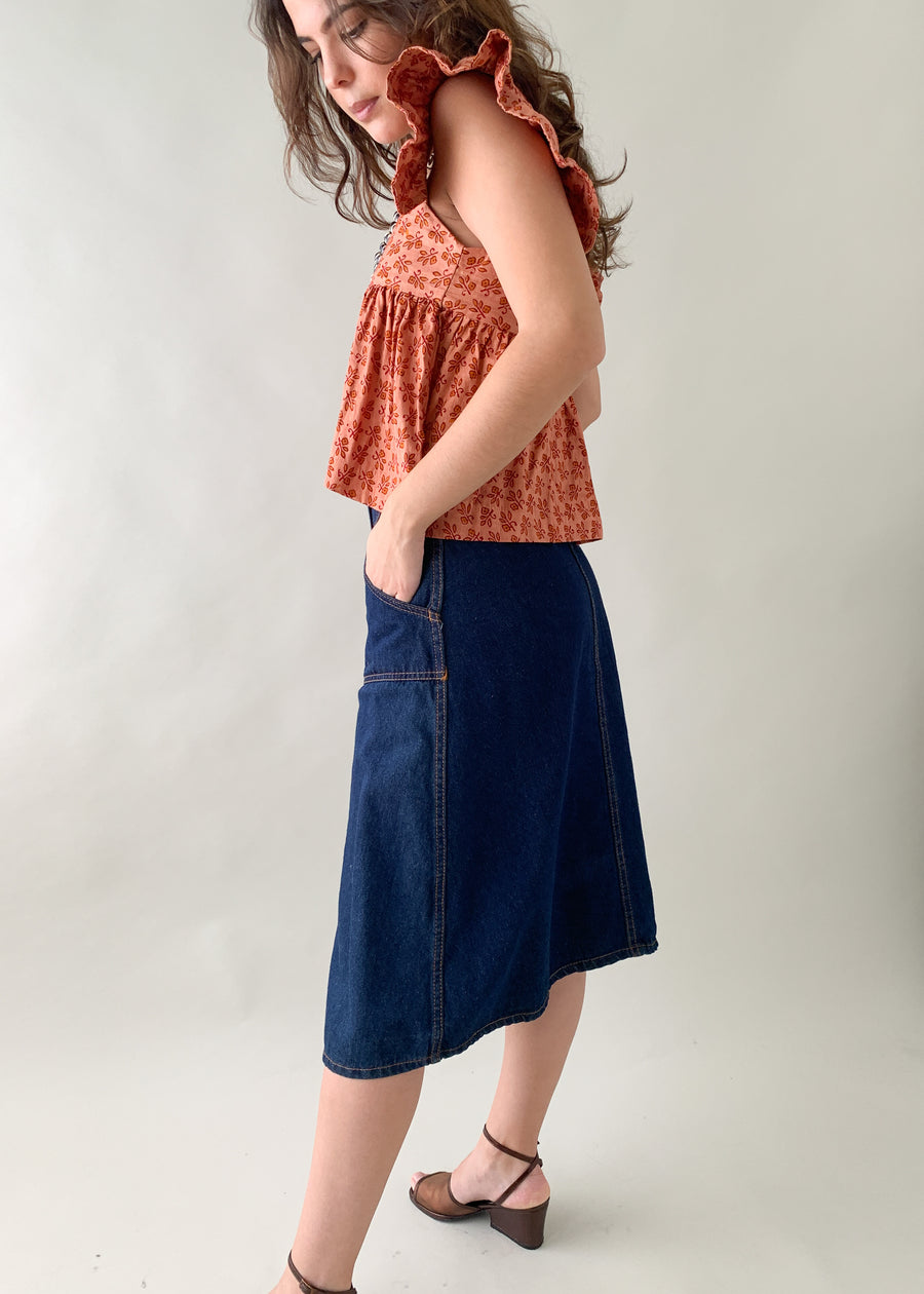 Vintage 1970s Denim Midi Skirt