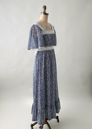 Vintage 1970s Navy and White Floral Maxi Dress