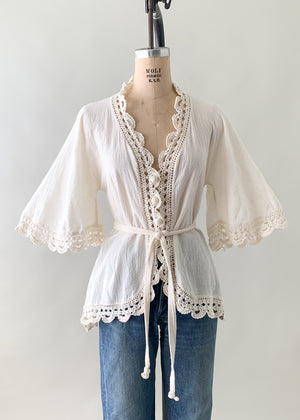 Vintage 1970s Anatolia Gauze and Crochet Top