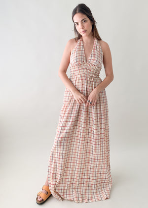 Vintage 1970s Gauzy Halter Maxi Dress