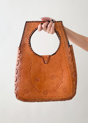 Vintage 1970s Tooled Leather Purse