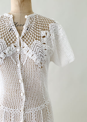 Vintage 1970s White Crochet Summer Dress
