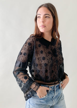 Antique Edwardian Black Lace Top