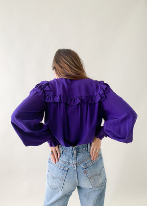 Vintage 1970s YSL Purple Silk Ruffle Blouse