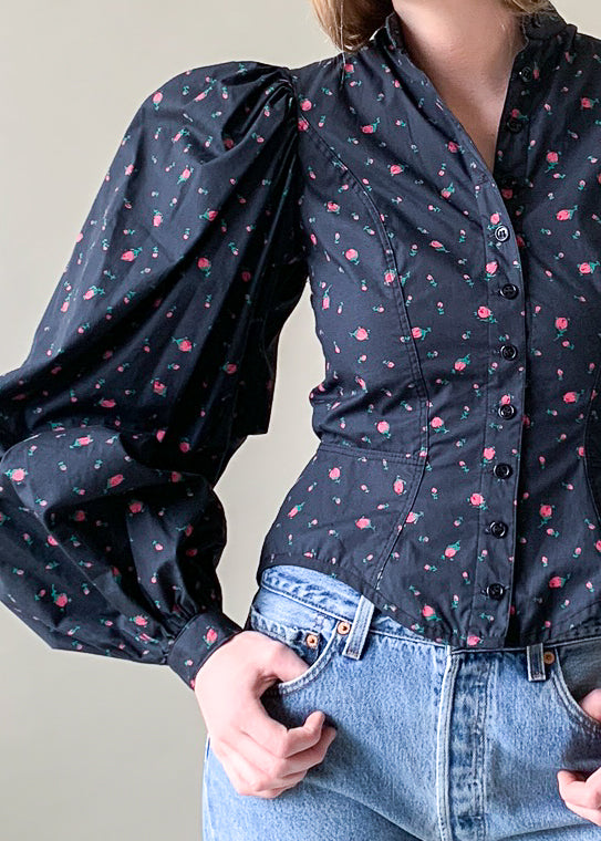 Vintage 1980s Betsey Johnson Floral Shirt