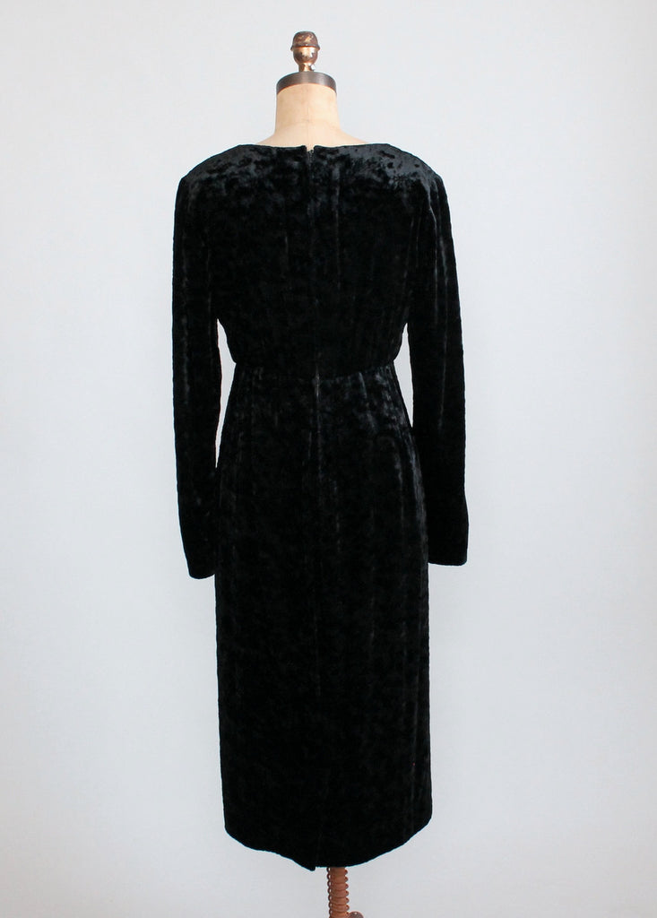 Vintage 1980s Christian Dior Dated Couture Black Velvet Dress