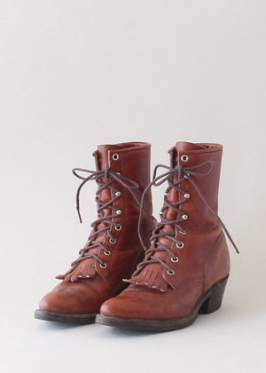 Vintage 1980s Justin Fringed Victorian Style Ankle Boots
