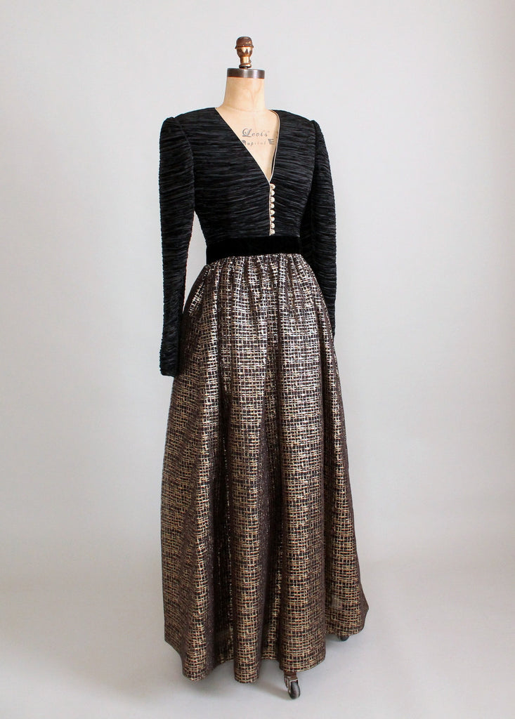 Vintage 1980s Mary McFadden Black and Gold Evening Gown