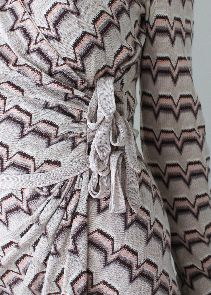Vintage 1980s Missoni Knit Wrap Dress