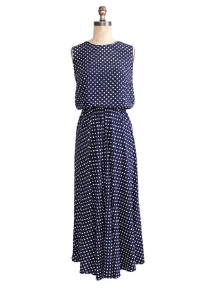 Vintage 1980s Navy and White Polka Dot Day Dress