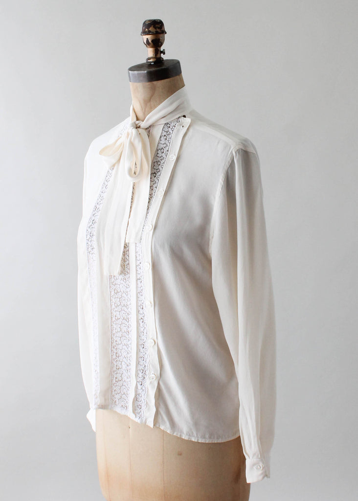 Vintage 1980s Oscar de la Renta Silk and Lace Blouse