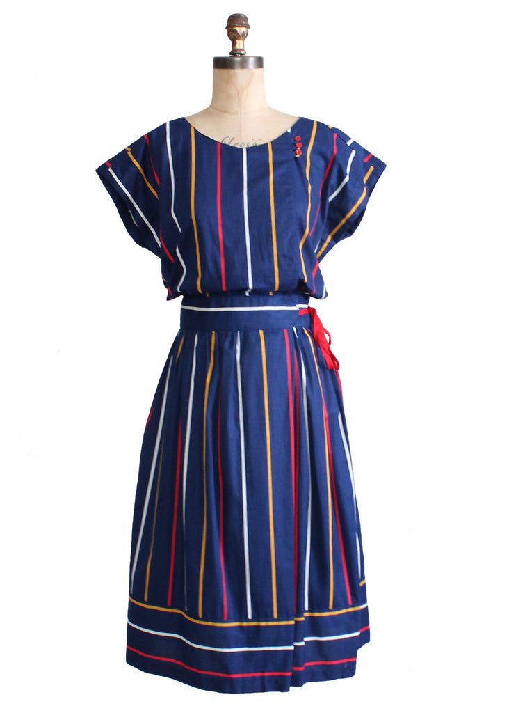 Vintage 1980s Primary Stripes Cotton Day Dress