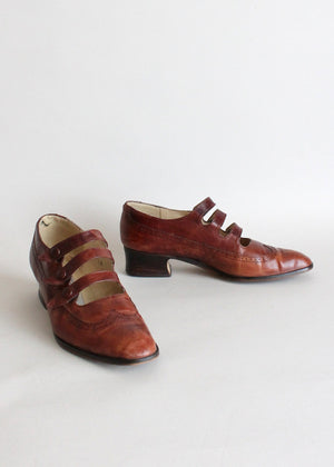Vintage Three Strap Distressed Wingtip Oxfords Size 6