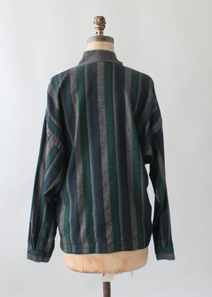Vintage 1980s Versace Striped Winter Top