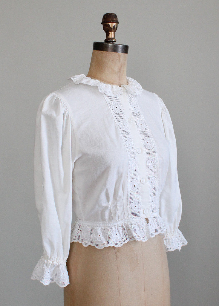 Vintage 1980s Cotton And Lace Victorian Style Blouse
