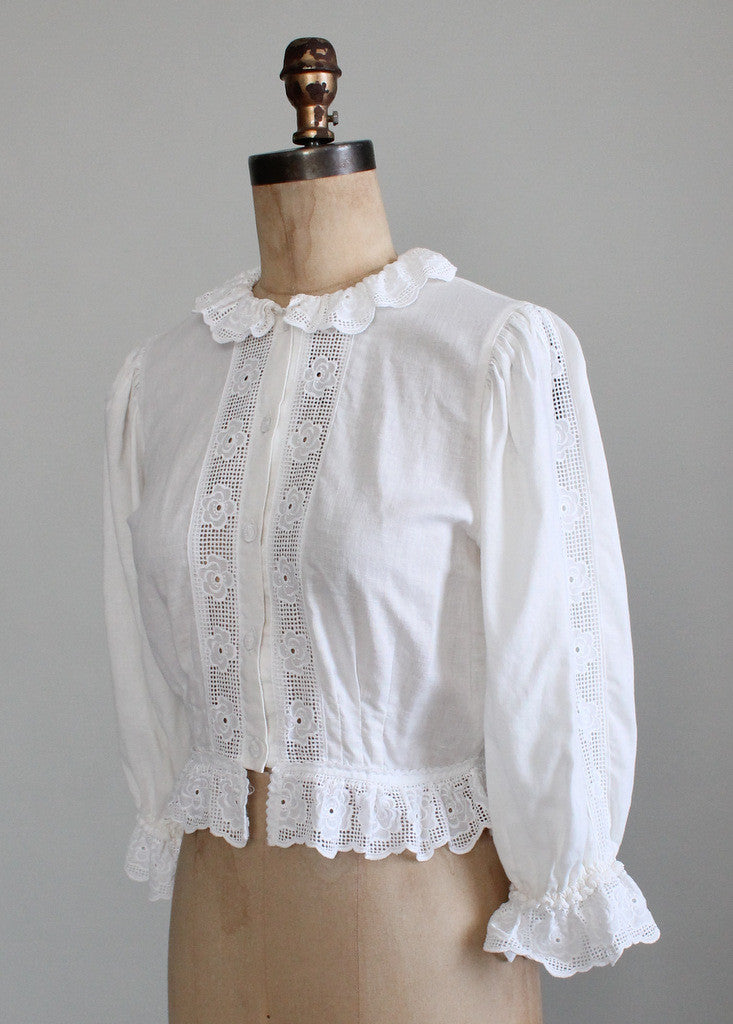 Vintage 1980s Cotton and Lace Victorian Style Blouse ...