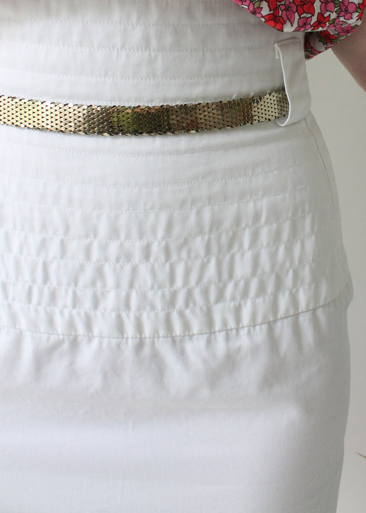 Vintage 1980s Yves Saint Laurent White Skirt
