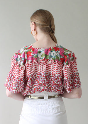 Vintage Diane Freis Flowers and Ruffles Blouse
