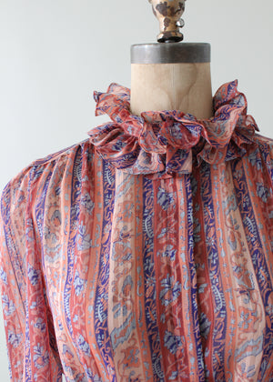 Vintage 1980s Floral Ruffle Sheer Blouse