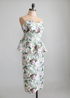Vintage 1980s Floral Peplum Pin Up Style Dress