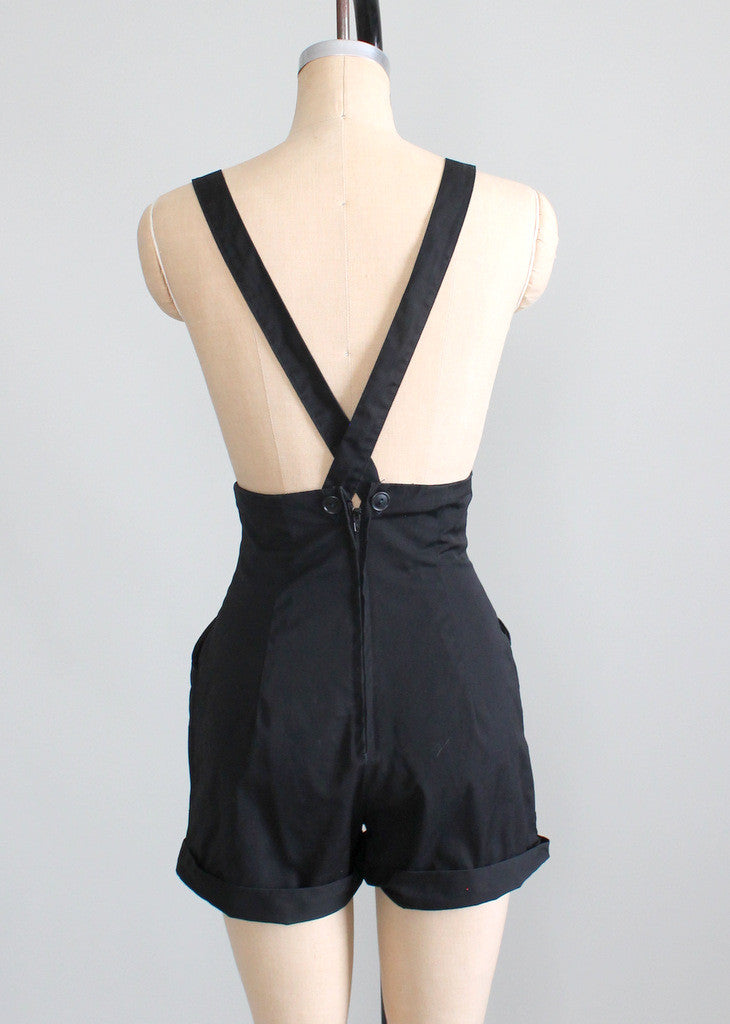 Vintage 1980s High Waist Suspender Shorts