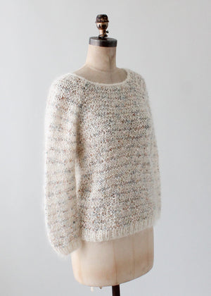 Vintage 1980s Handknit Mohair Sweater