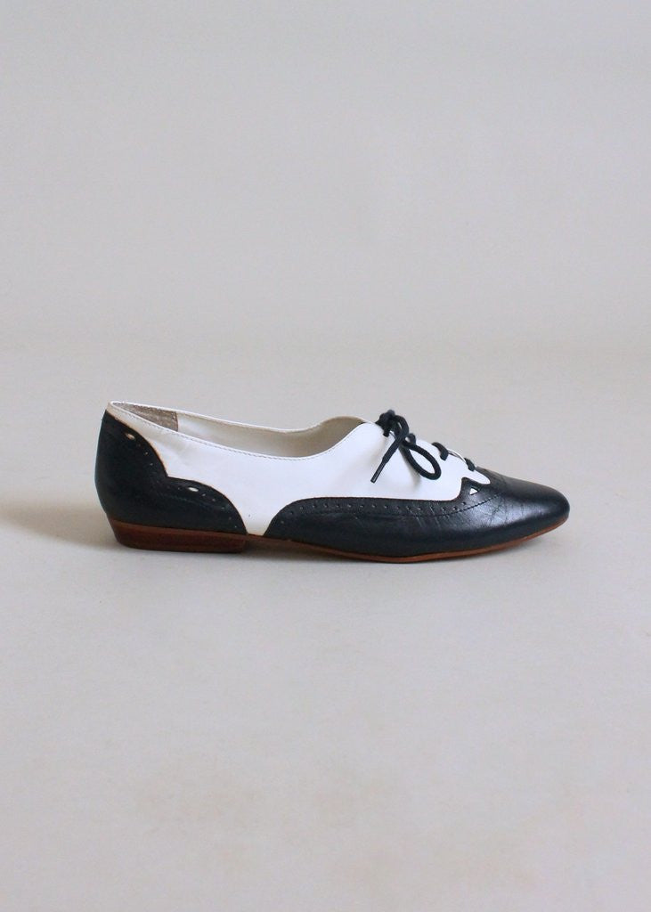 Vintage 1980s Navy and White Oxford Flats