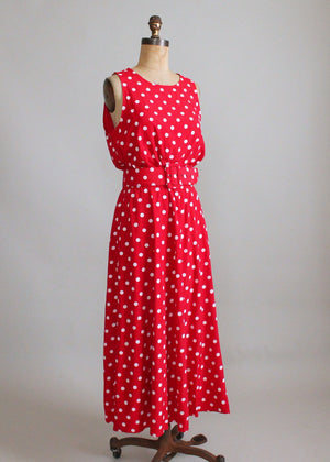 Vintage 1980s Red and White Polka Dot Dress