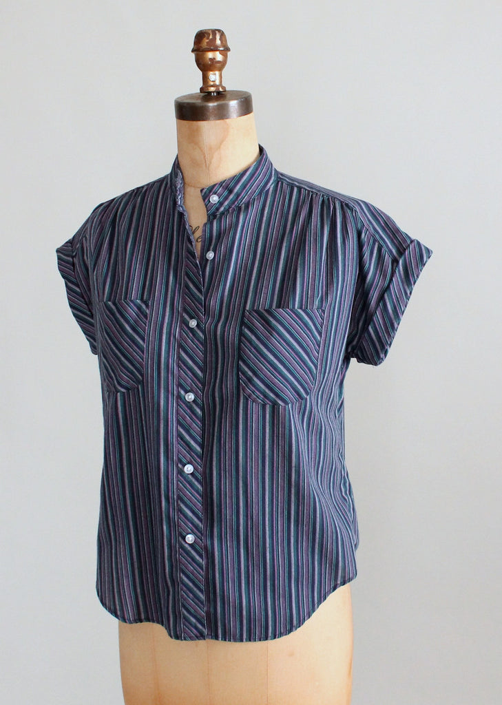 Vintage 1980s Alicia Striped Summer Camp Shirt