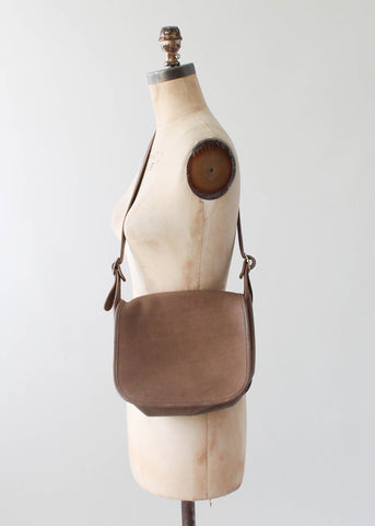 Vintage 1970s Coach Taupe Leather Saddle Bag Purse