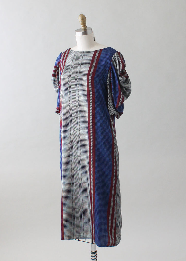 Vintage 1980s Tunic Dress with Draped Ruffle Sleeves