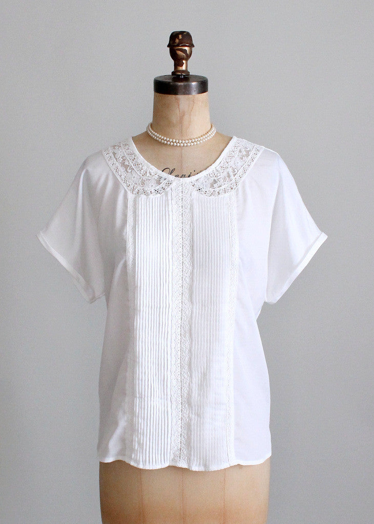Vintage 1980s Lace Collar Slouch Blouse | Raleigh Vintage