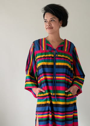 Vintage 1980s Striped Cotton Caftan