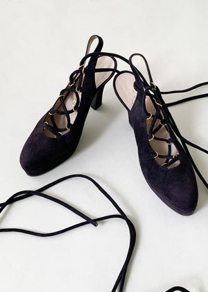 Vintage Chanel Lace Up Shoes