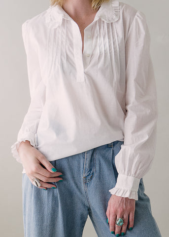 Vintage Laura Ashley PieCrust White Cotton Shirt
