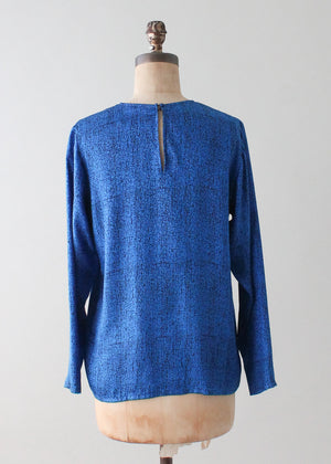 Vintage 1990s Yves Saint Laurent Blue Silk Blouse