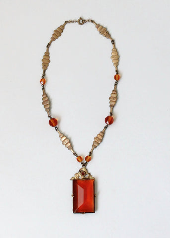Vintage 1920s Amber Czech Glass and Brass Necklace