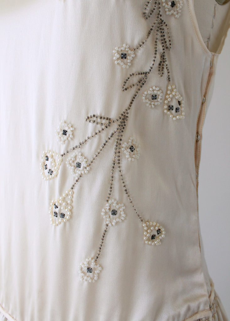 Vintage 1920s Beaded Silk Wedding Dress