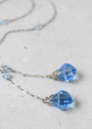 Vintage 1920s Faceted Blue Bead Lariat Necklace