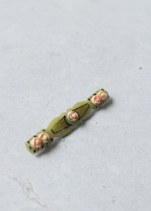 Vintage 1920s Painted Roses and Green Celluloid Bar Pin