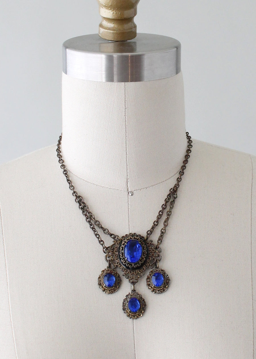 Vintage 1930s Blue Glass and Filigree Necklace