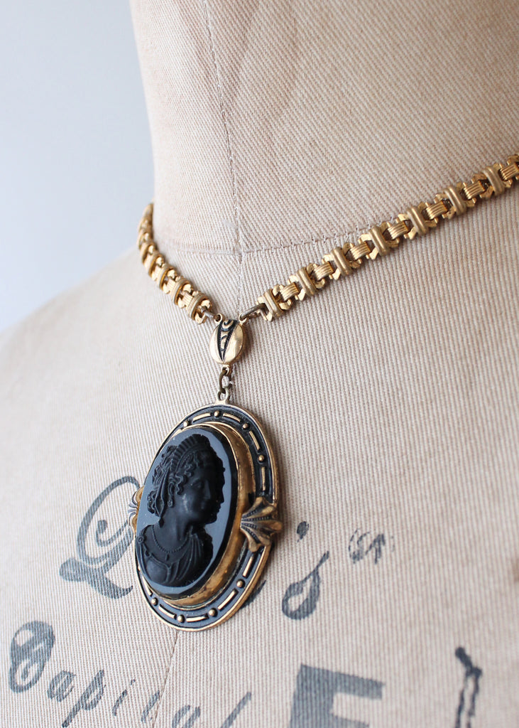 Vintage 1930s Victorian Revival Black Cameo Necklace